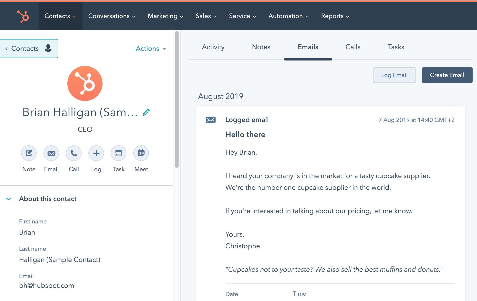 screenshot contact hubspot